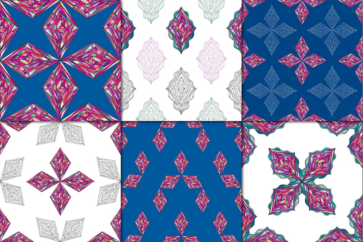 Ornaments diamonds patterns collection. example image 7