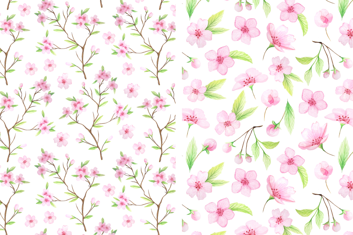 Watercolor Cherry Blossoms example image 4