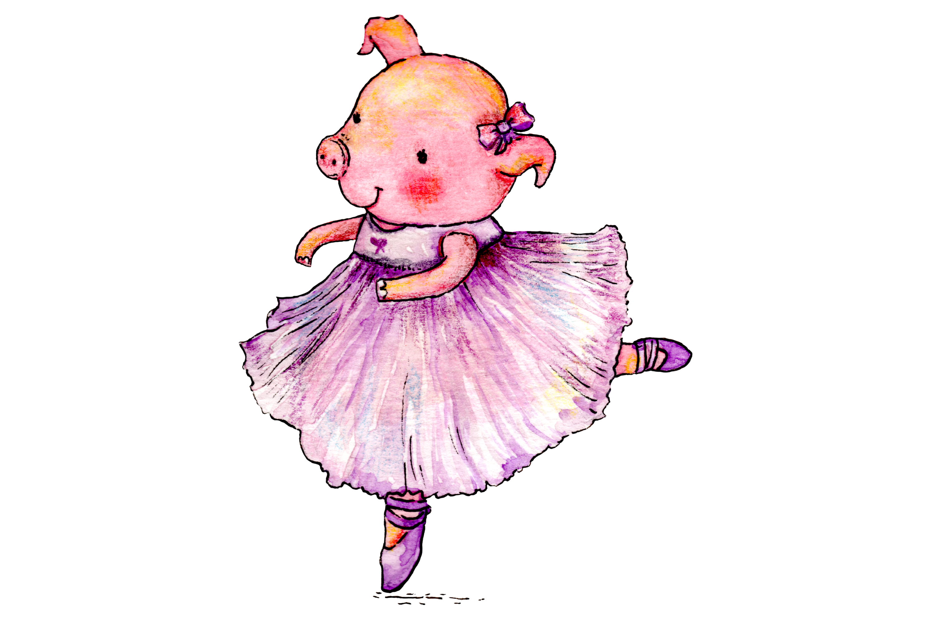 Watercolor Ballet Animals | 8 Clip Art Illustrations-PNG/JPG example image 7