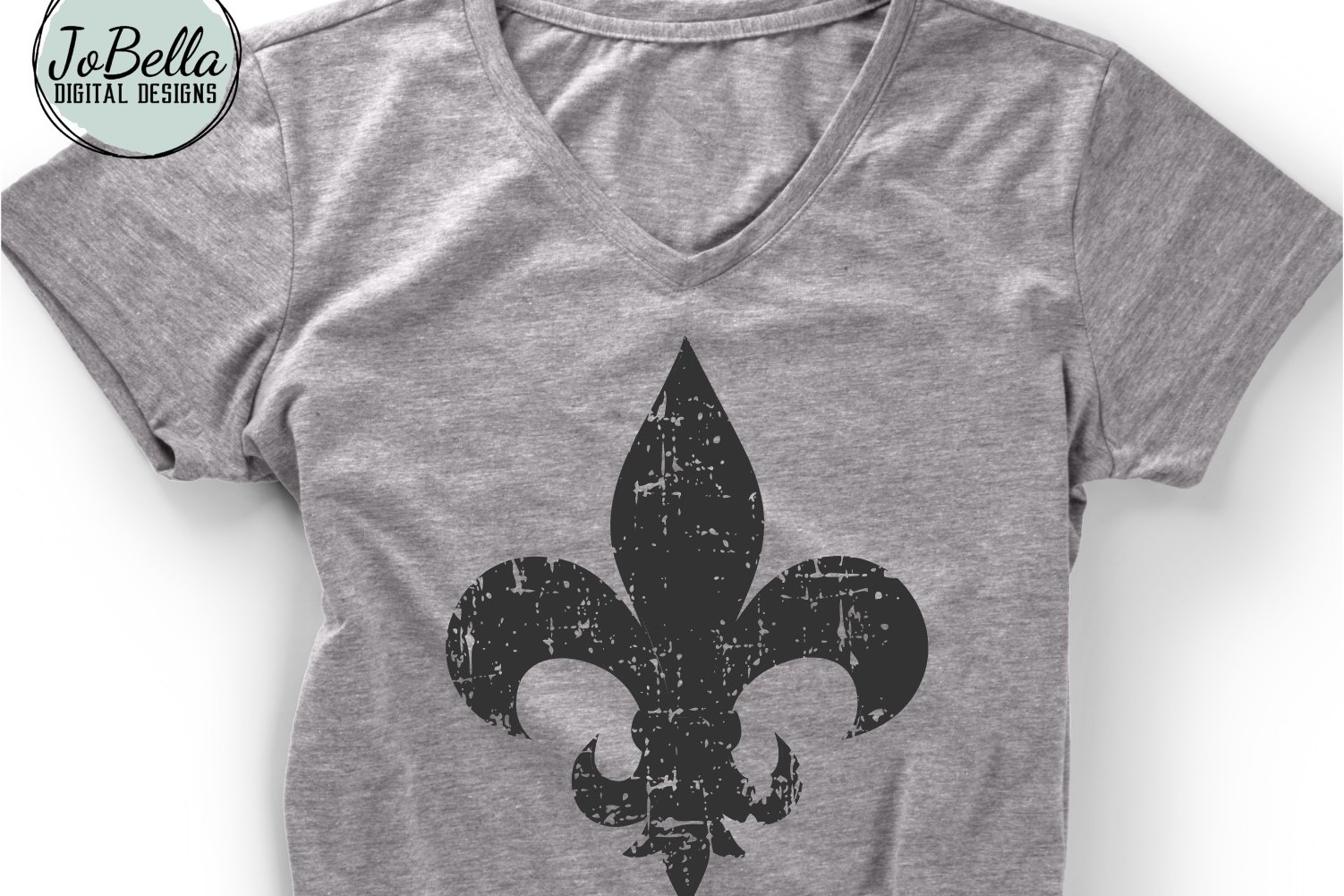Distressed Fleur De Lis SVG and Printable example image 2