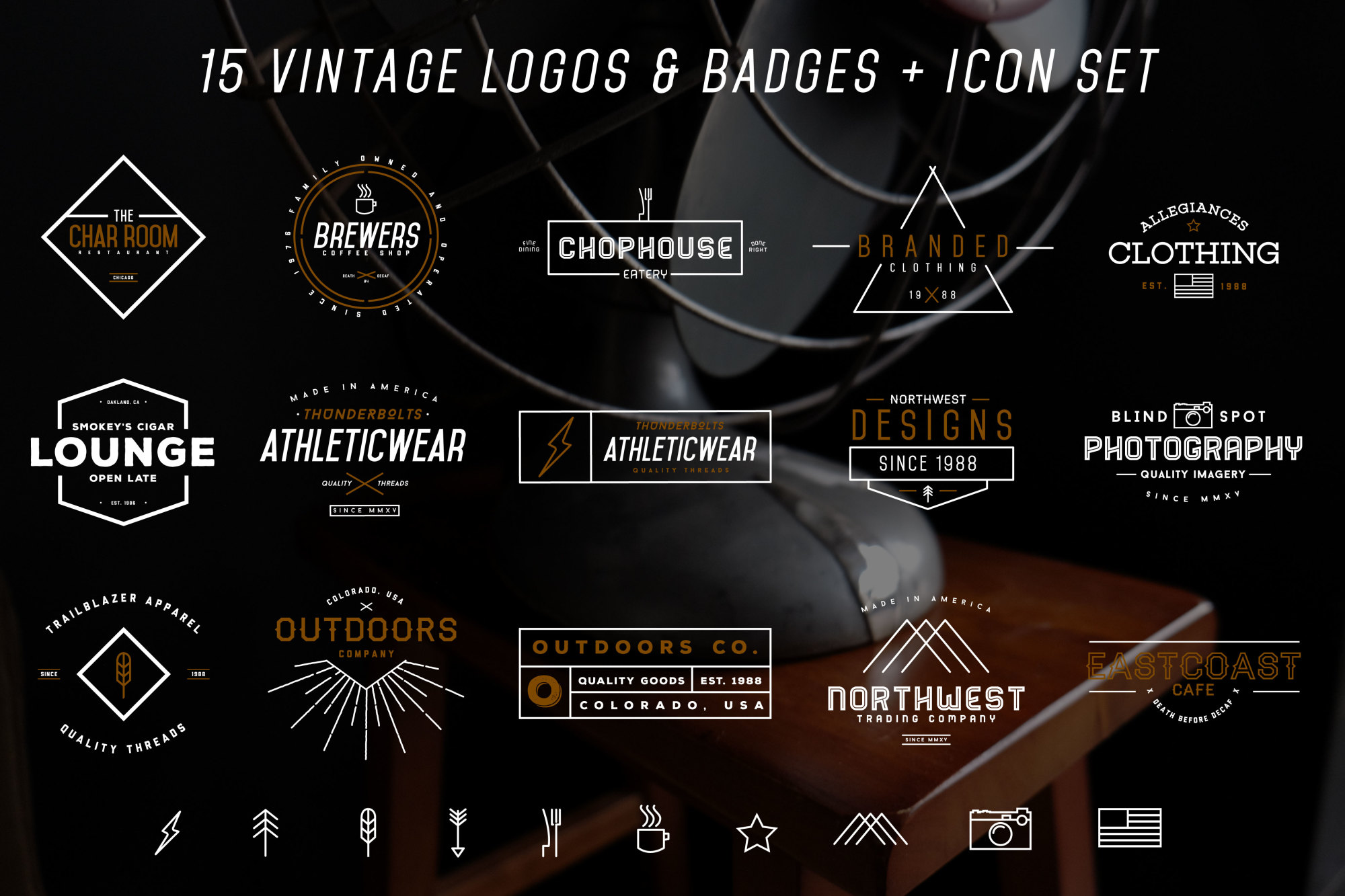 Vintage Logos & Icons Bundle example image 5