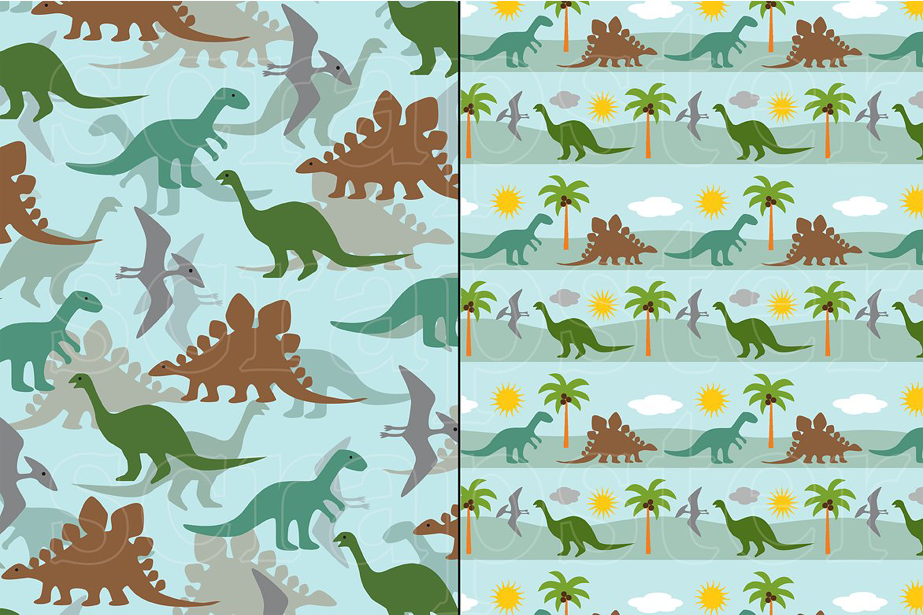Dinosaur Patterns and Borders example image 2