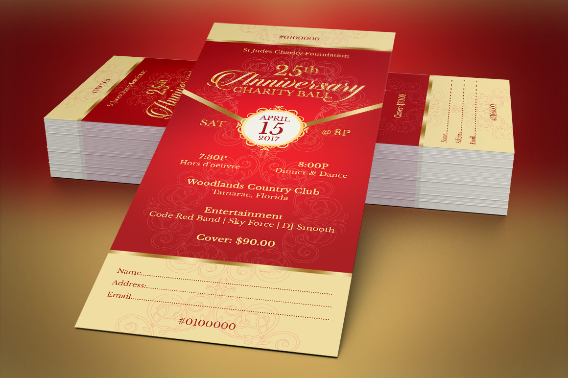 Red Gold Anniversary Gala Ticket Template example image 2