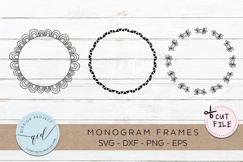 Doodle Monogram Frames SVG DXF PNG EPS example image 1