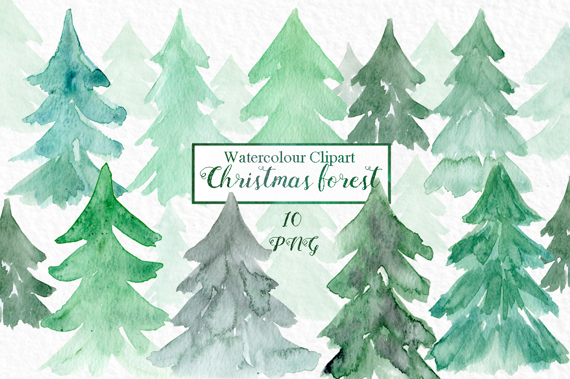 Watercolour Christmas Forest Clipart , Forest Clipart