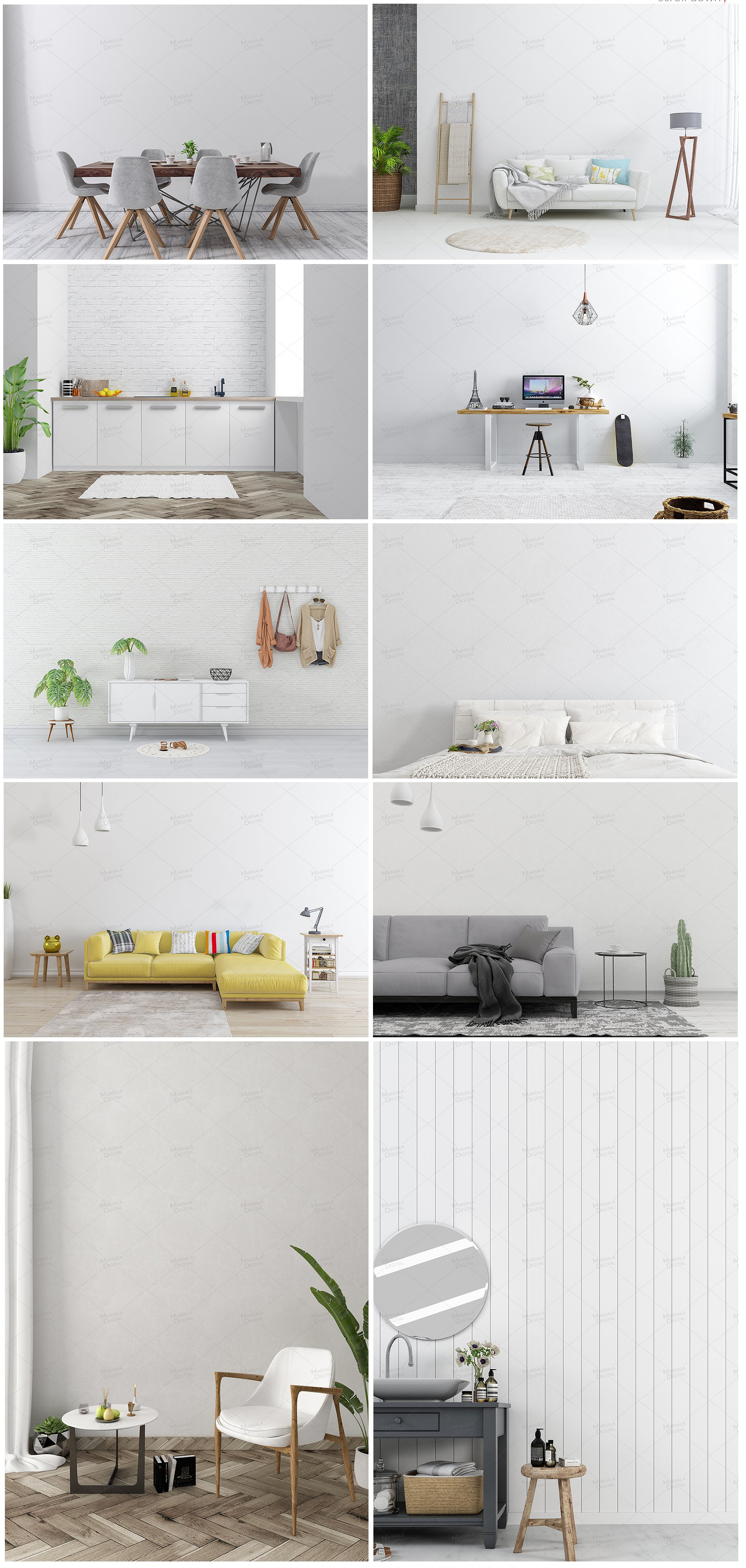 Massive Interior Wall Mockup, Frame Mockup Bundle FREE sampl example image 4