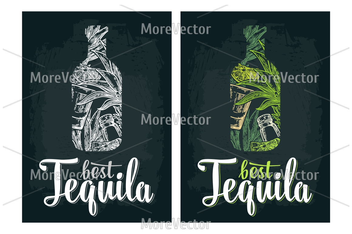 Illustration, pattern and posters Tequila with engraving.  example image 6