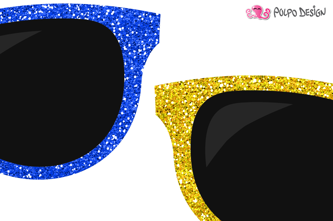 Colorful Glitter Sunglasses clip art example image 2