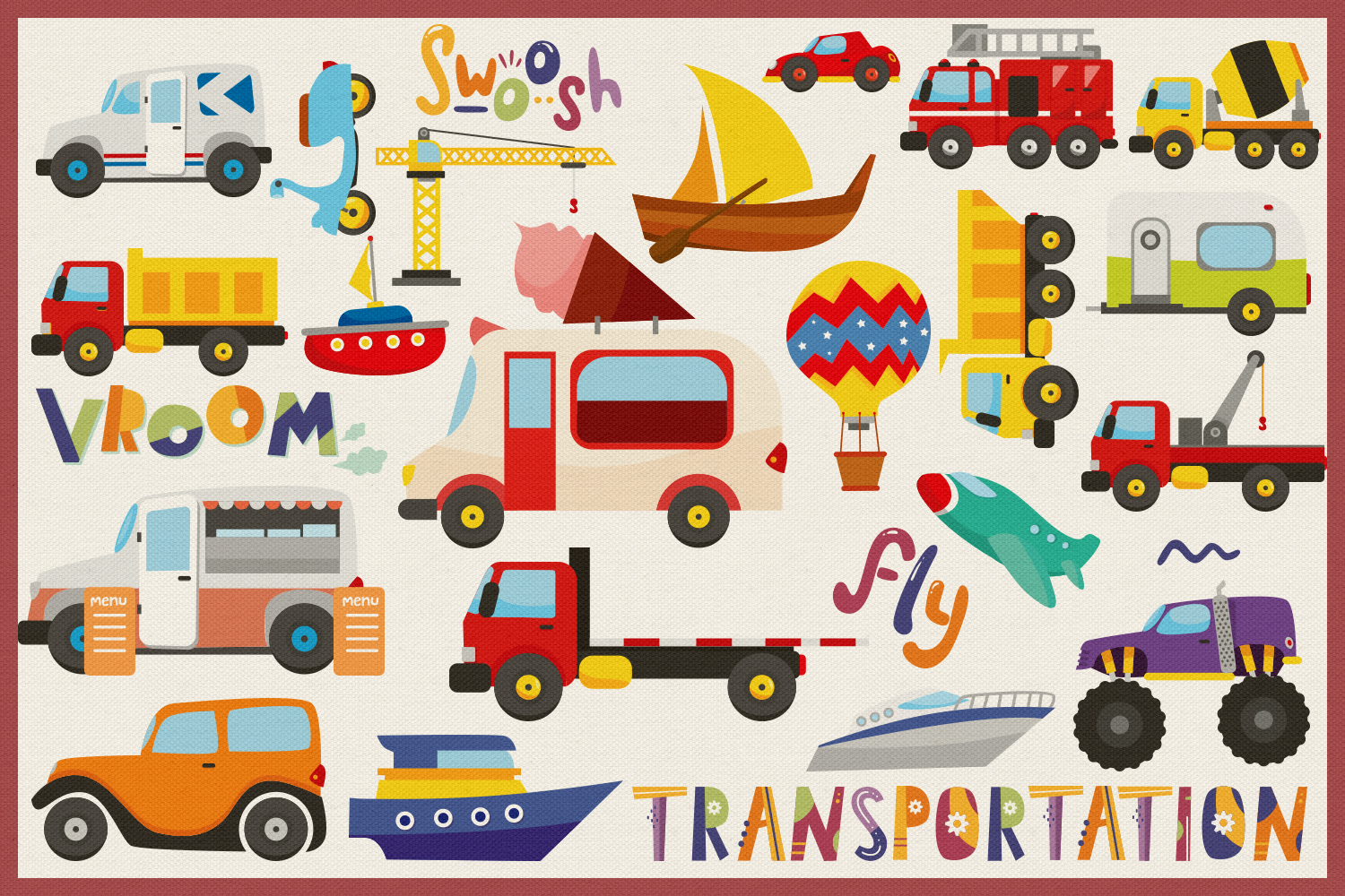 75 Transportation Vector Clipart & Seamless Patterns example image 4