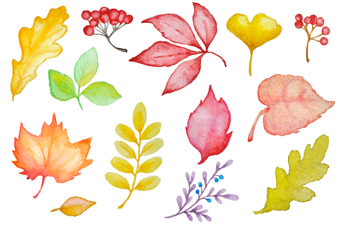 Watercolor Autumn Design Kit example image 3