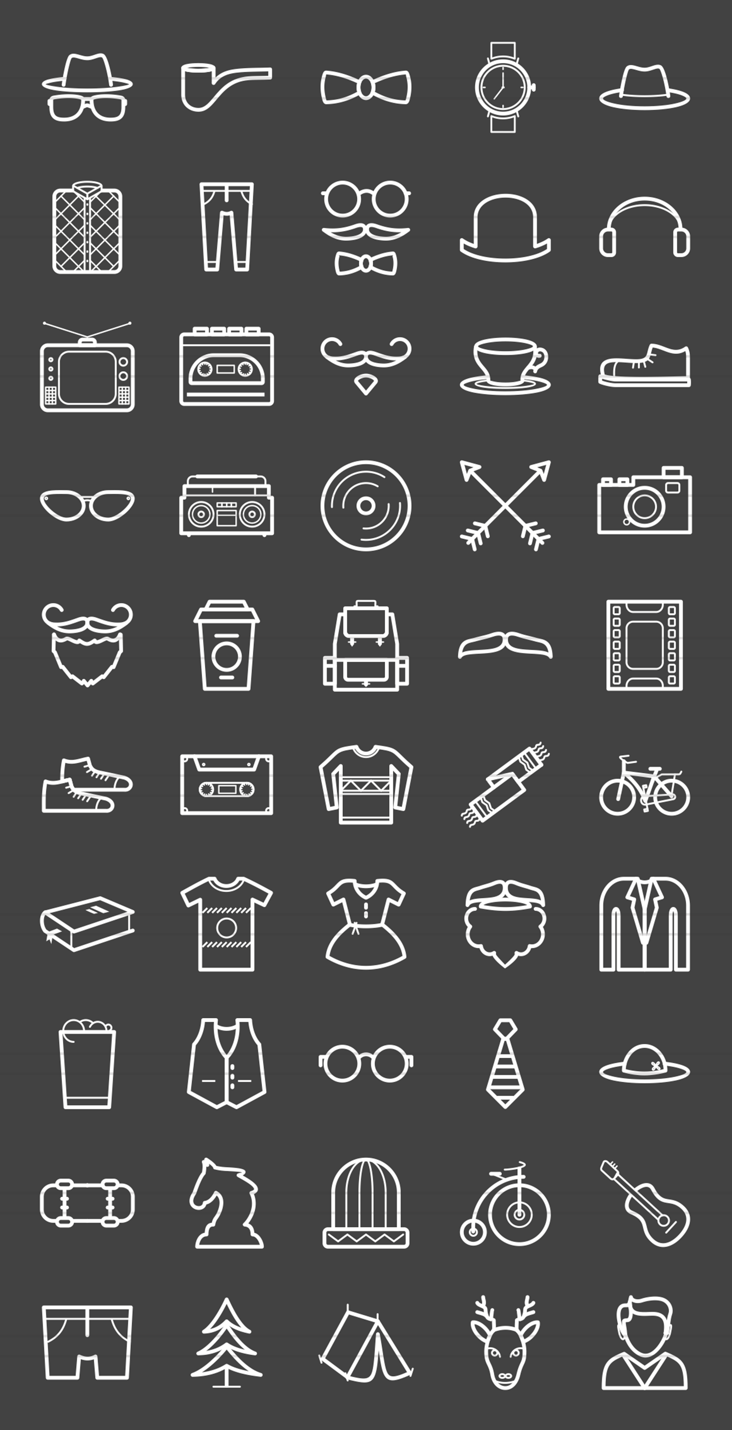 50 Hipster Line Inverted Icons example image 2