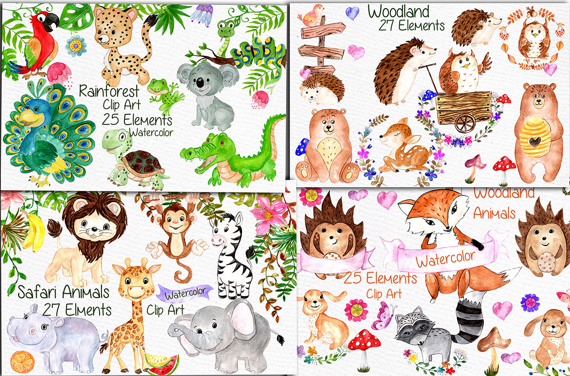 Watercolor Bundle-kids clipart example image 2