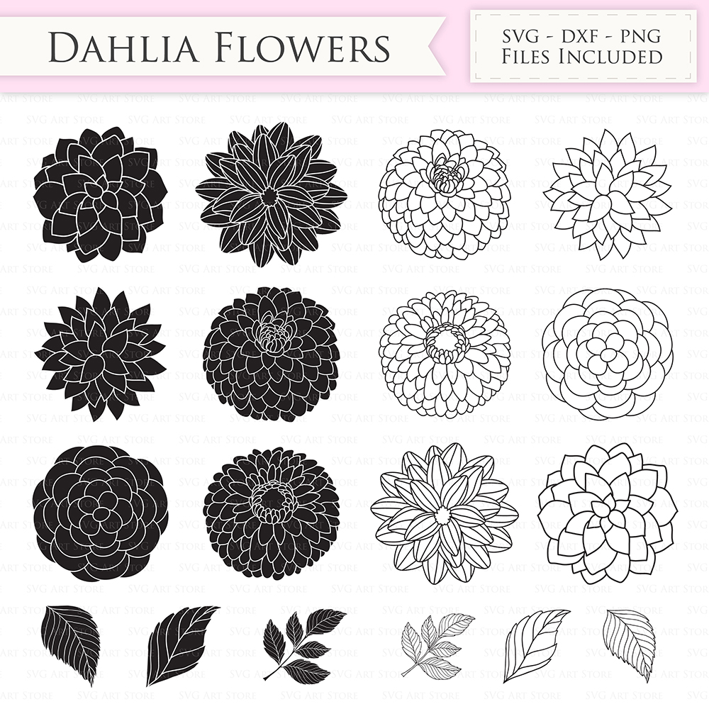 Dahlia Flowers SVG Files - Peony Flowers Outline,  Floral svg cutting files for Cricut and Silhouette - SVG, dxf, png included example image 1