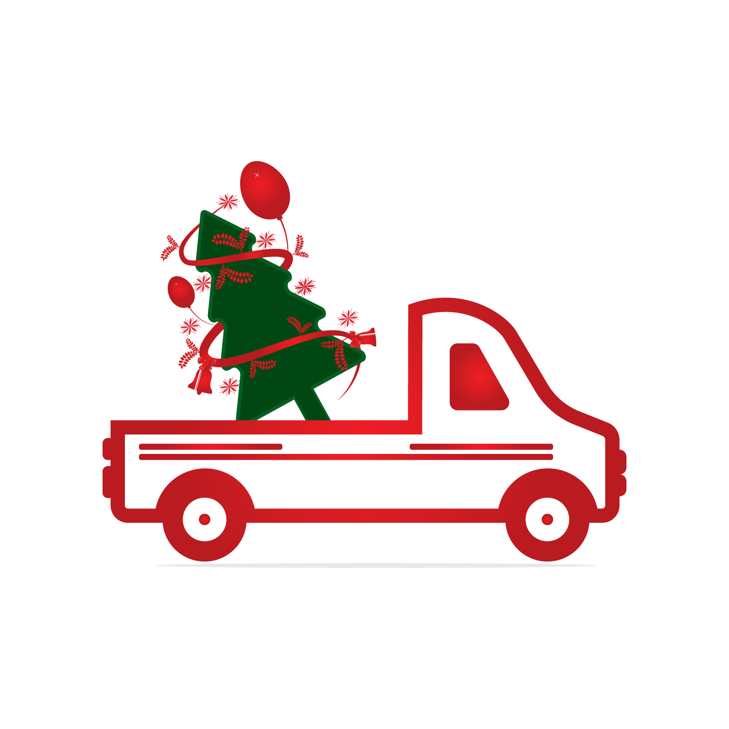 Christmas truck back with tree svg, dxf, pdf, jpeg, png file example image 3