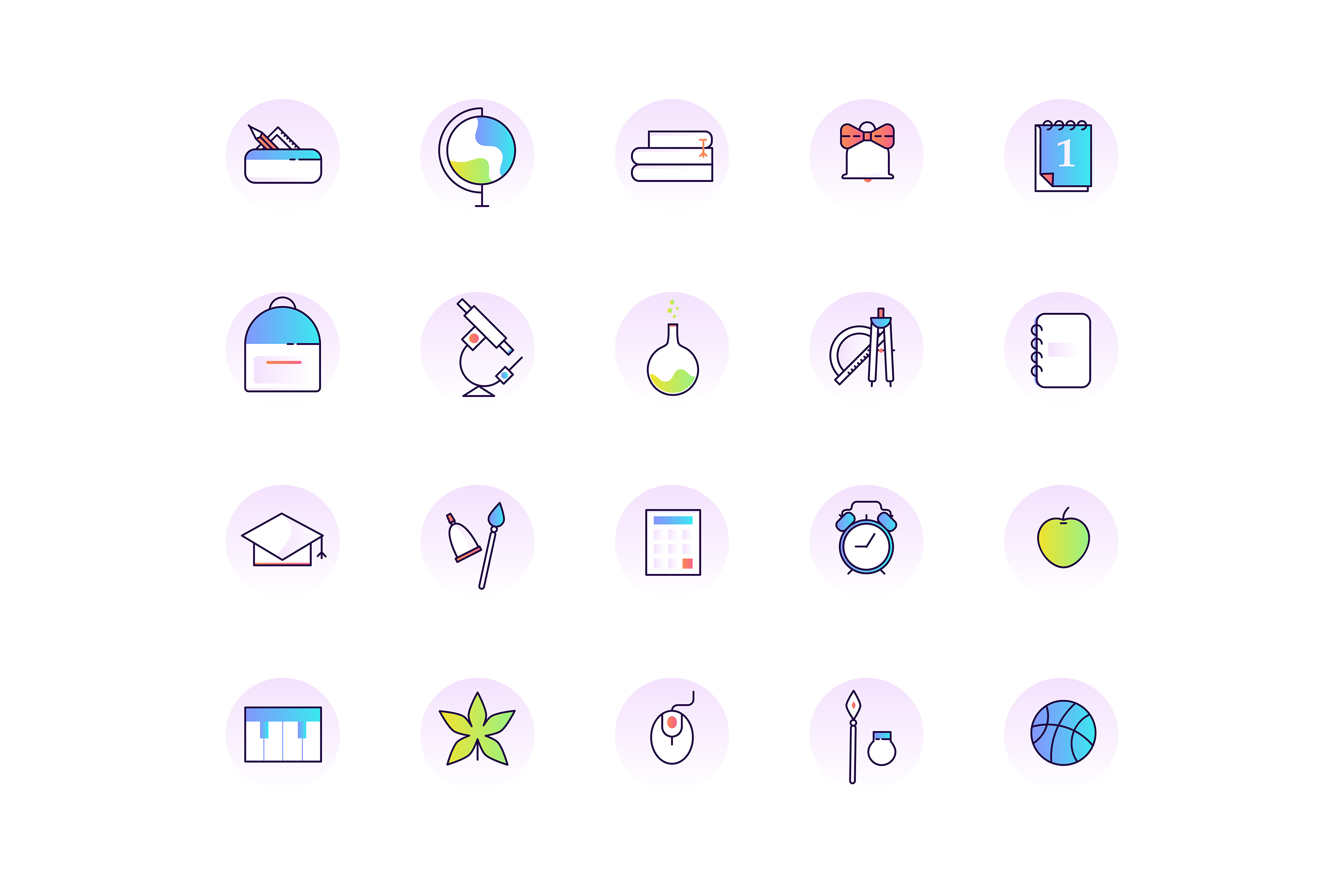 School & Education Color Line Icons example image 2