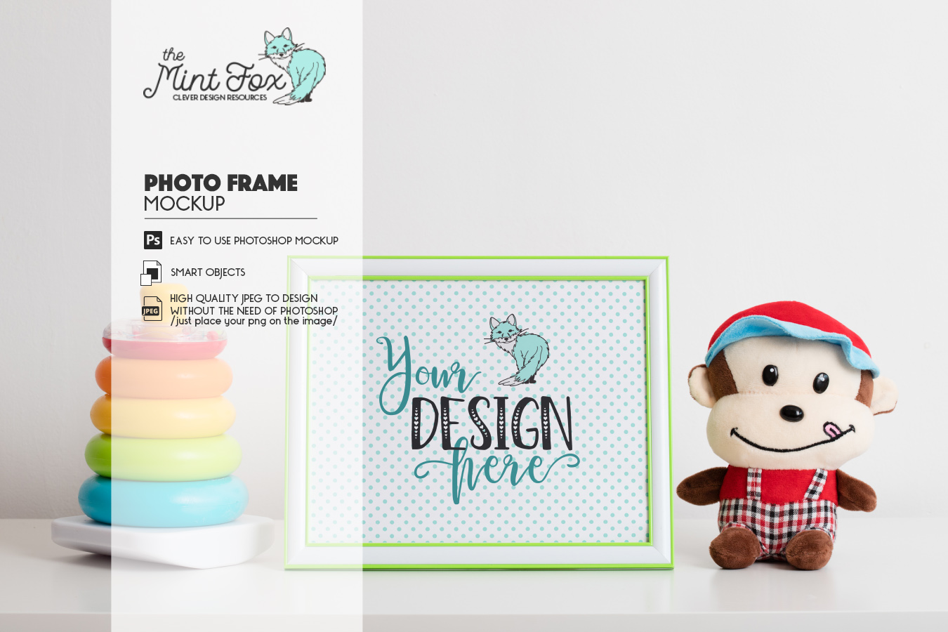 Children Photo Frame Mockup with Toys| Nursery Mock Up example image 2