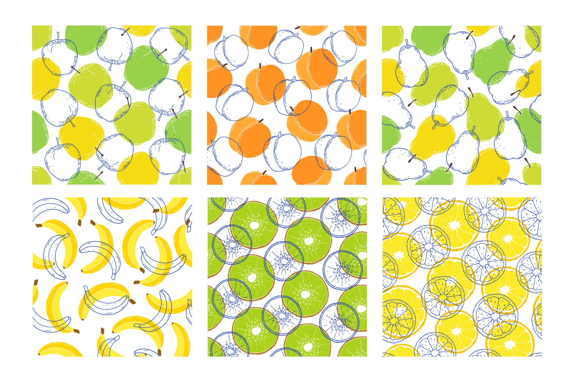 Fruits. Vector patterns. example image 12