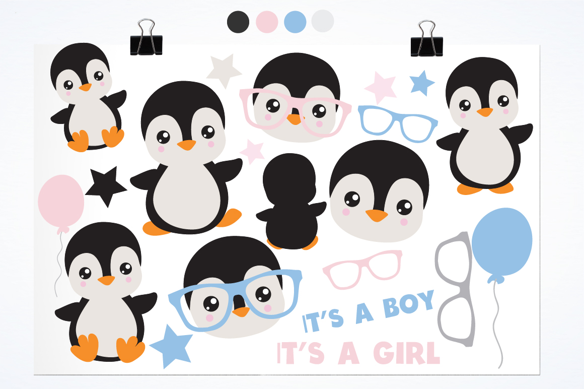 Gender Reveal Penguins graphics and illustrations example image 2