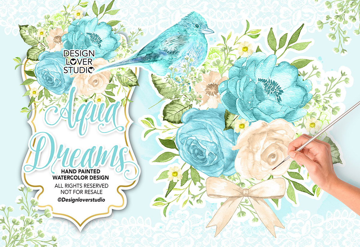 Watercolor AQUA DREAMS design example image 1