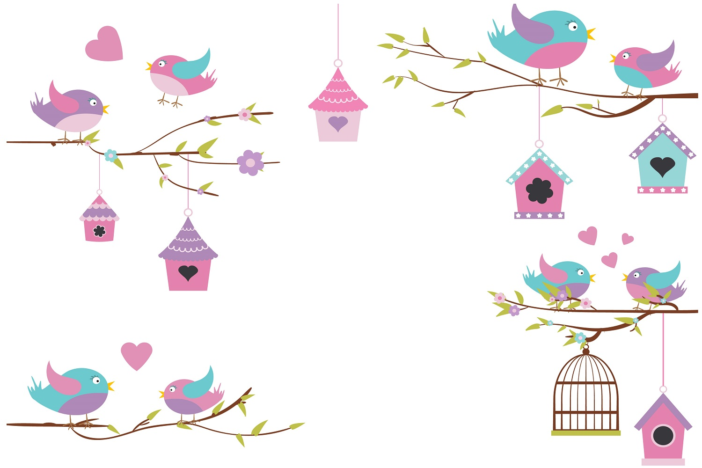 Pretty Bird Nest illustration Vector Pack example image 1