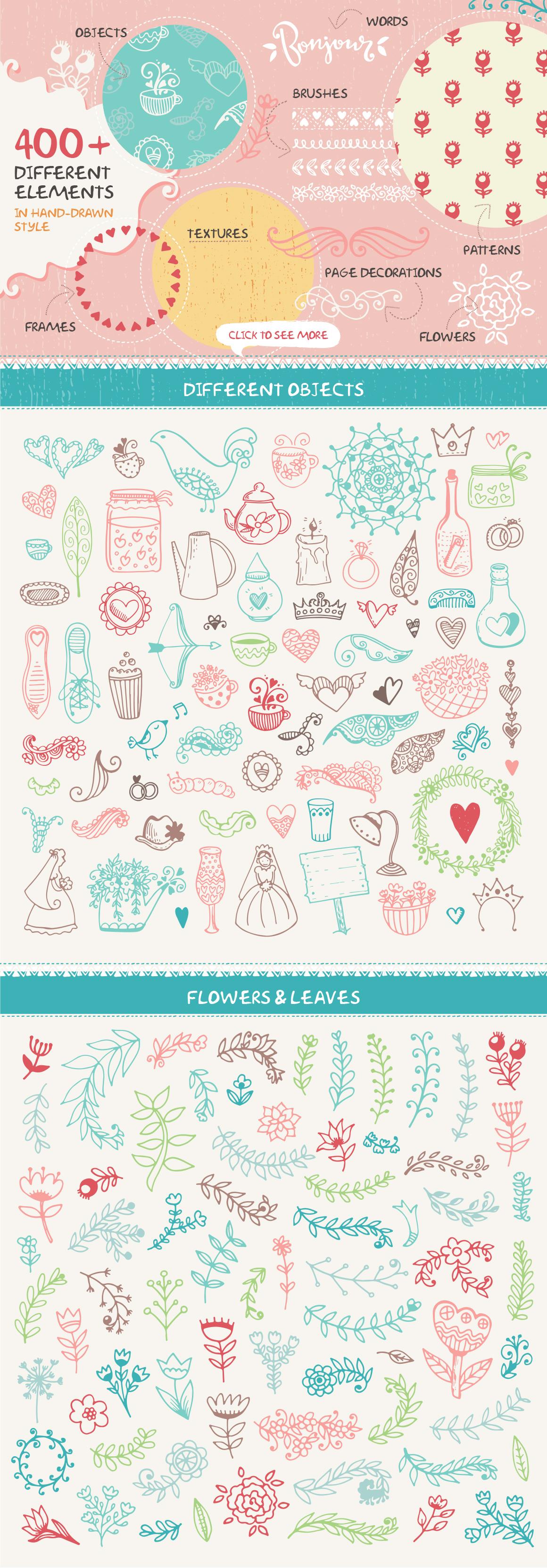 Romantic & Wedding Hand Drawn Set example image 2