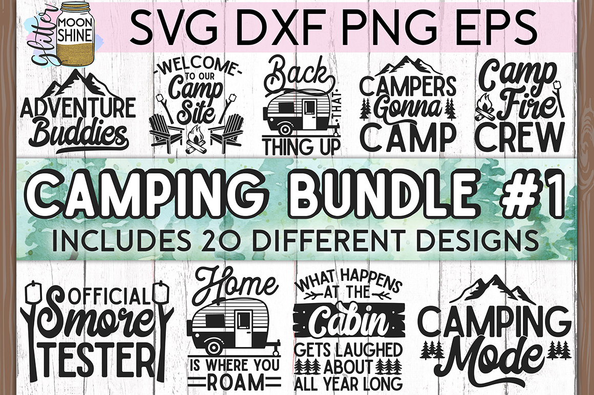Camping Bundle of 20 #1 SVG DXF PNG EPS Cutting Files example image 1
