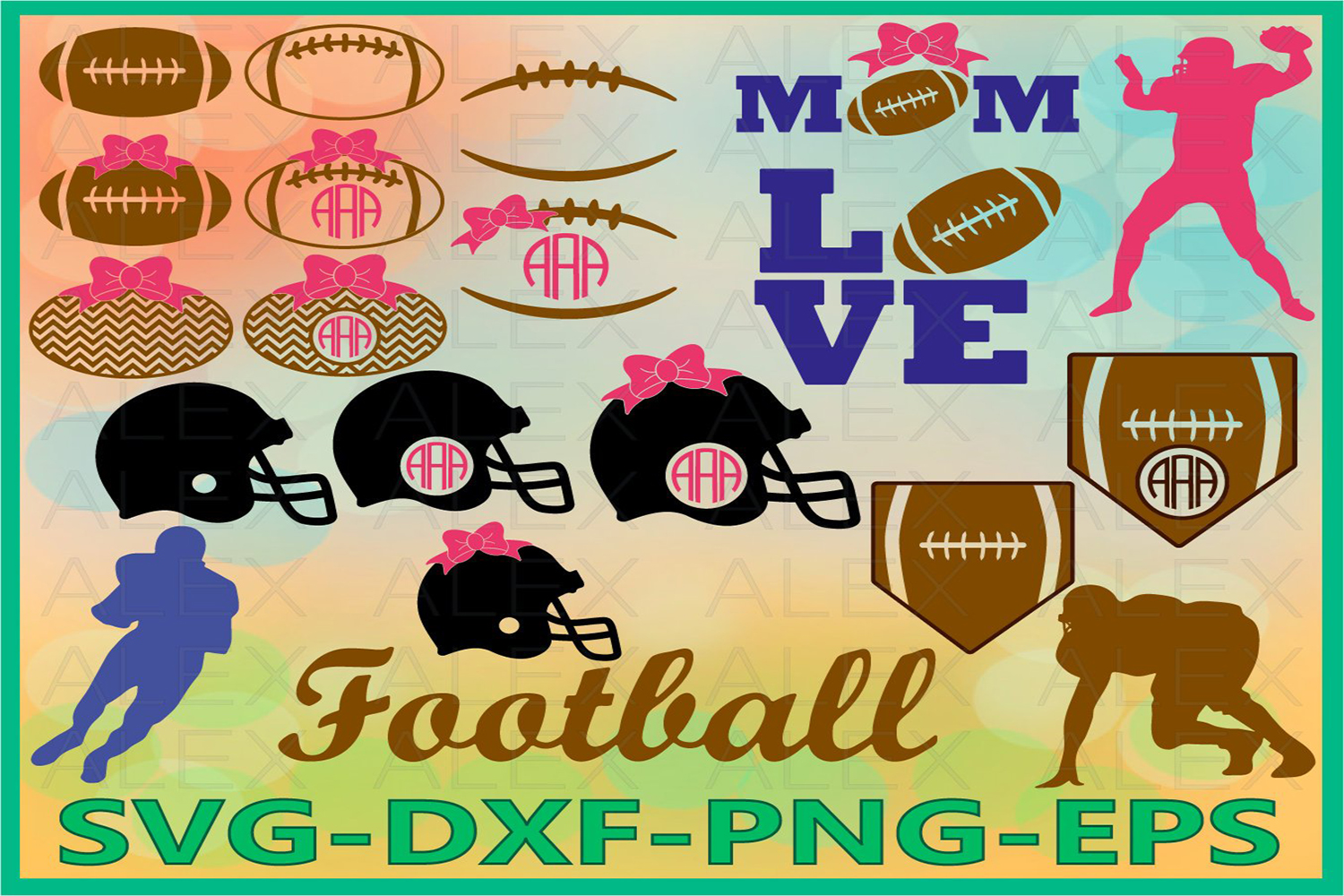 Football SVG, Football Laces Svg, Football Monogram Svg example image 1