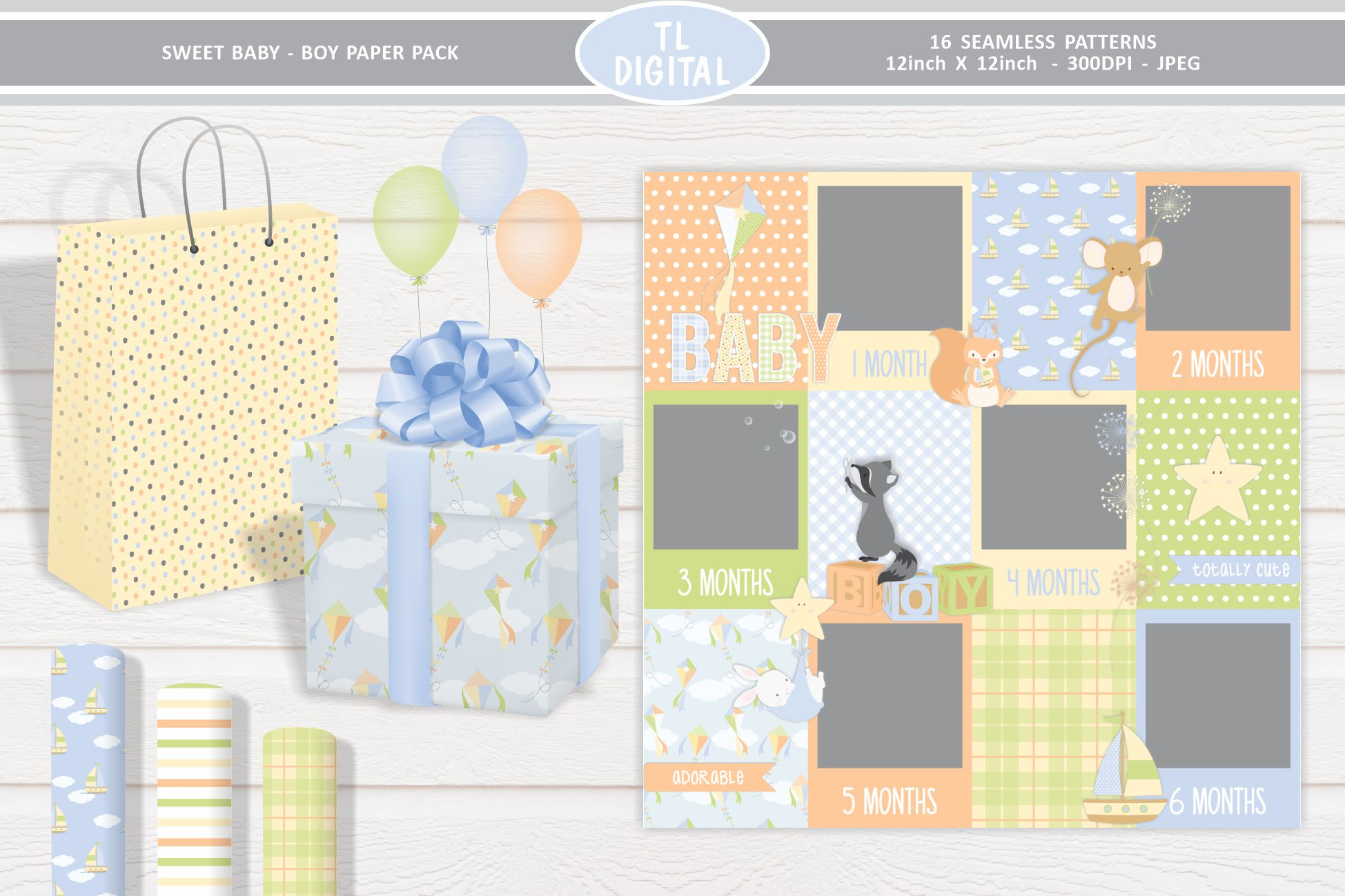 Sweet Baby Boy Paper Pack - 12 Seamless Patterns example image 2