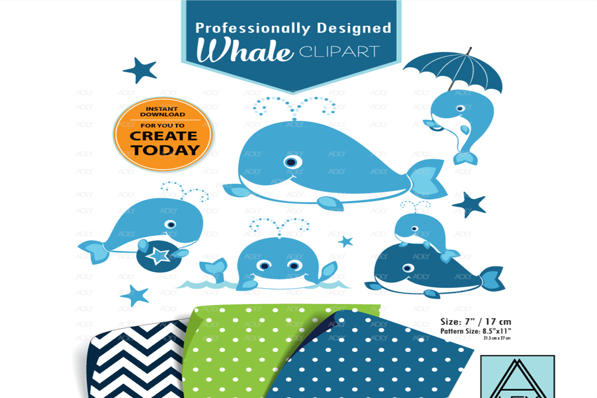 Blue Baby Whale with Umbrella ,sea,Clip Art,Instant Download example image 1