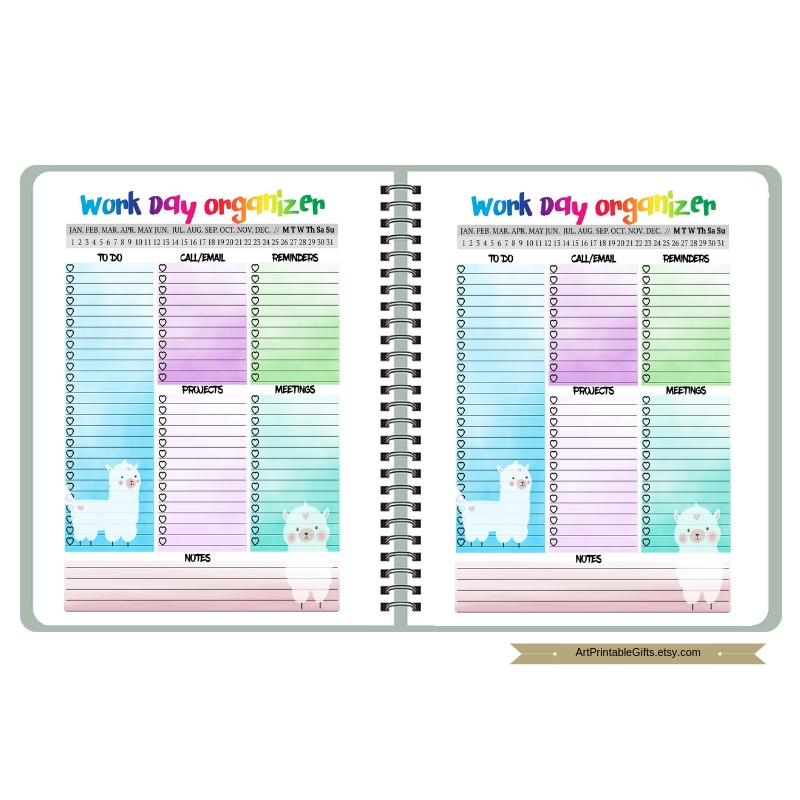 Llama daily Planner Printable Work day planner insert example image 5