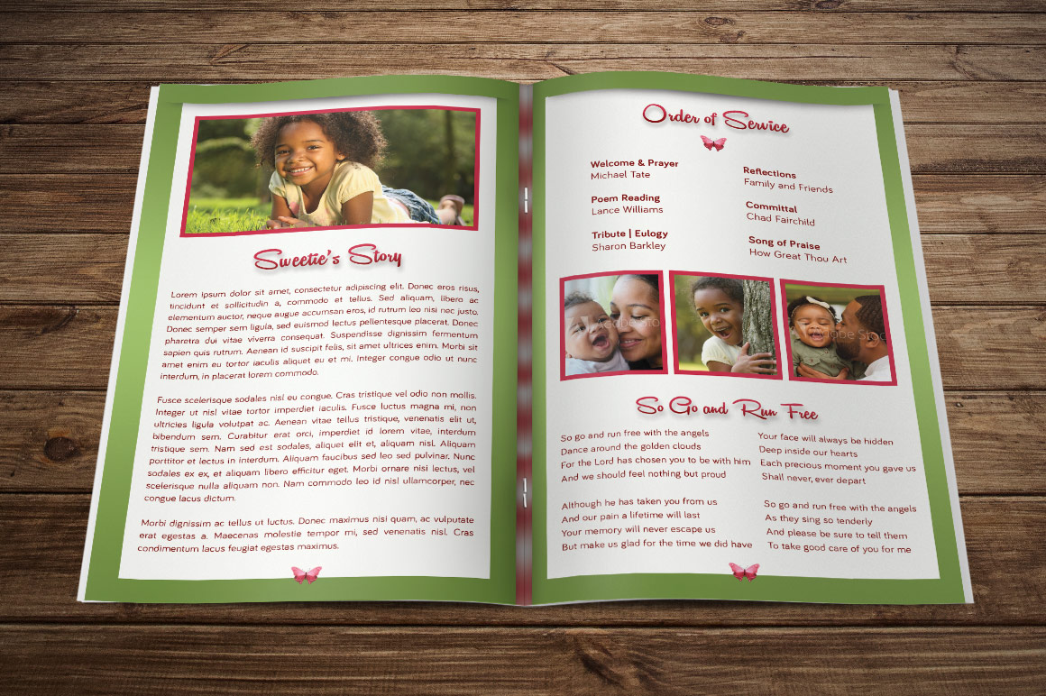 Child Funeral Program Template Photoshop example image 2