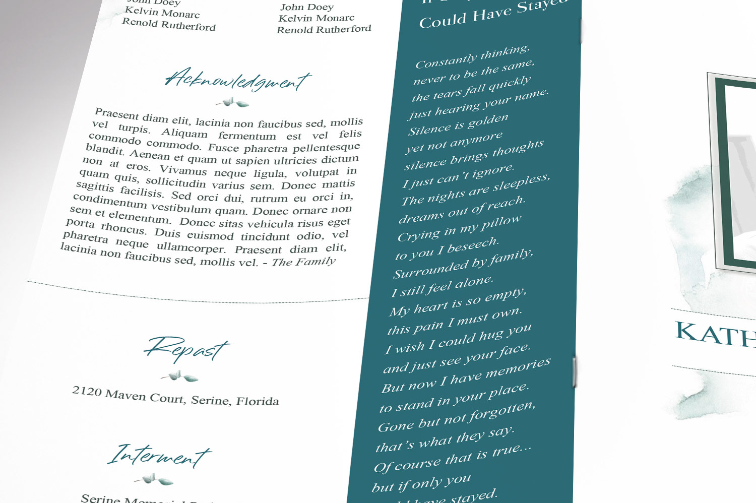 Blossom Funeral Program Word Publisher Template | 8 Pg example image 8