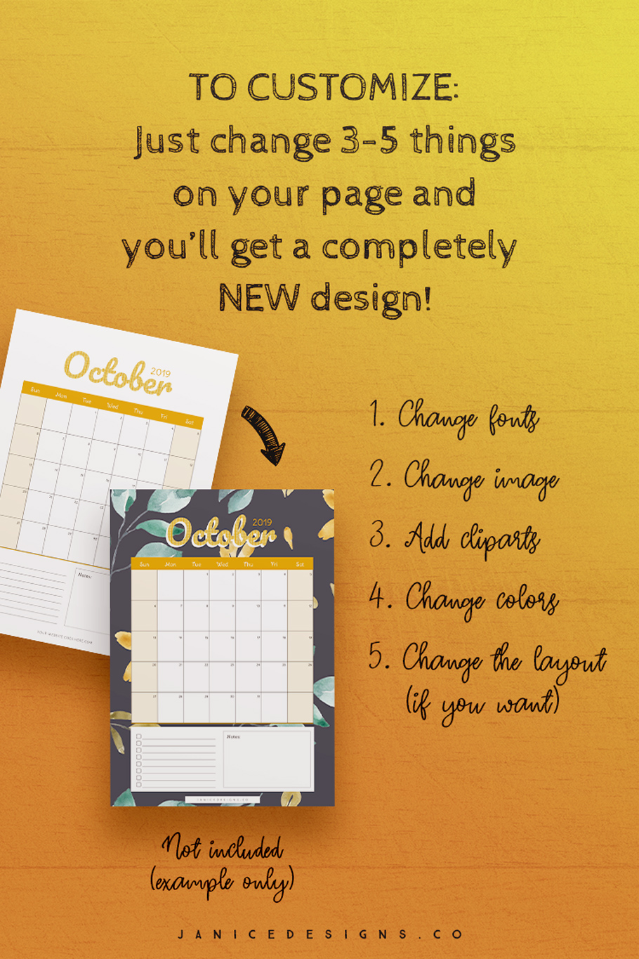 2019 Calendar InDesign Template for Commercial Use example image 7