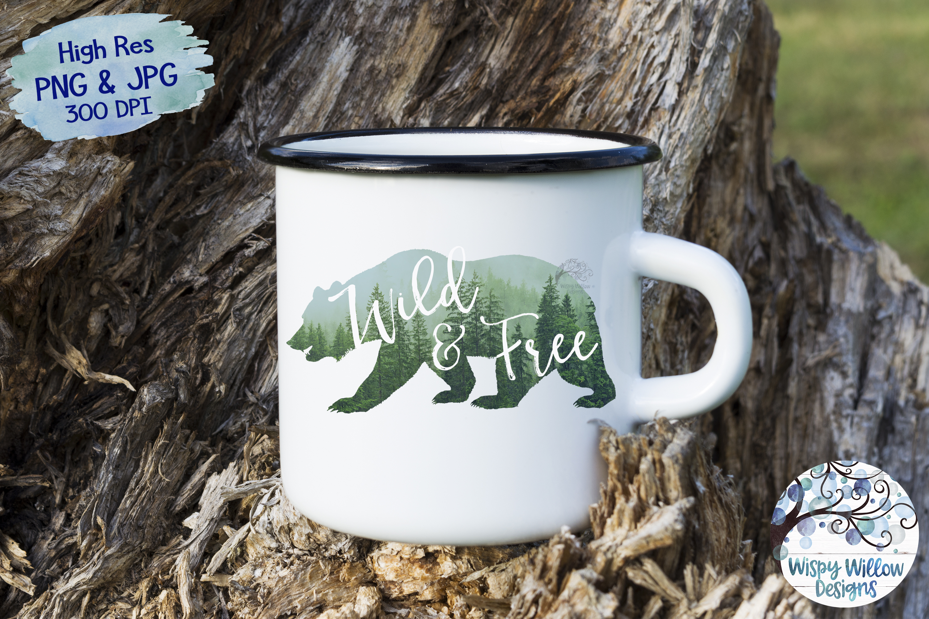 Wild & Free | Forest Bear PNG | Sublimation | Clipart example image 2