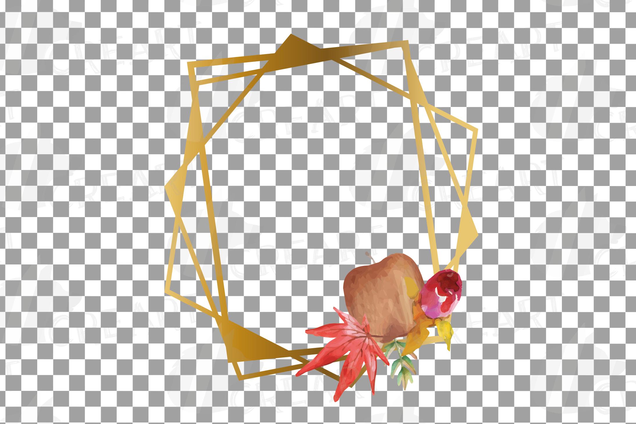 Watercolor elegant autumn geometric golden frame templates. example image 6