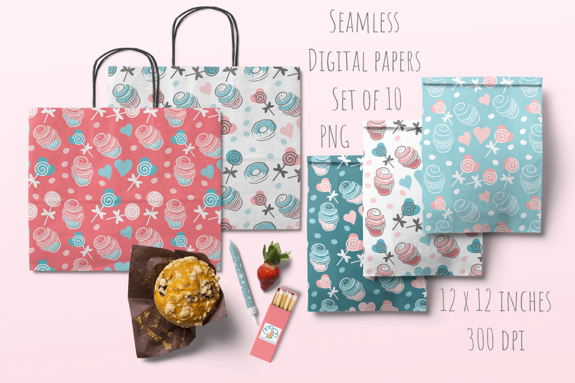 Cupcakes and Donuts Seamless Scrapbooking Papers 10 PNG file example image 6