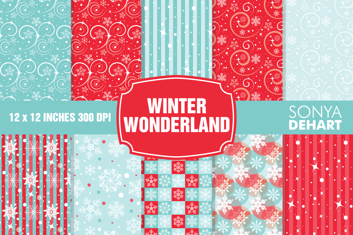 Winter Wonderland Christmas Digital Paper Pattern Pack example image 1