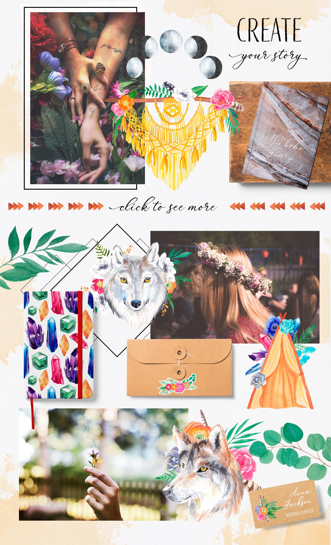 Bohemian soul - boho design set example image 6