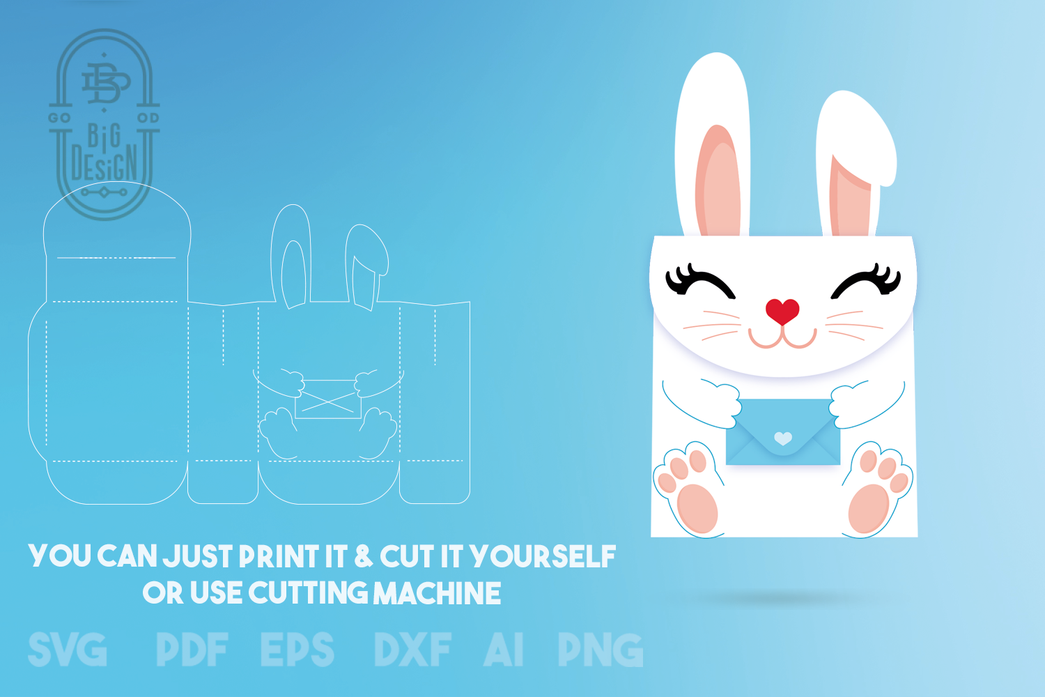 Box SVG File - Bunny Box SVG Template, Easter SVG, Gift Box example image 4