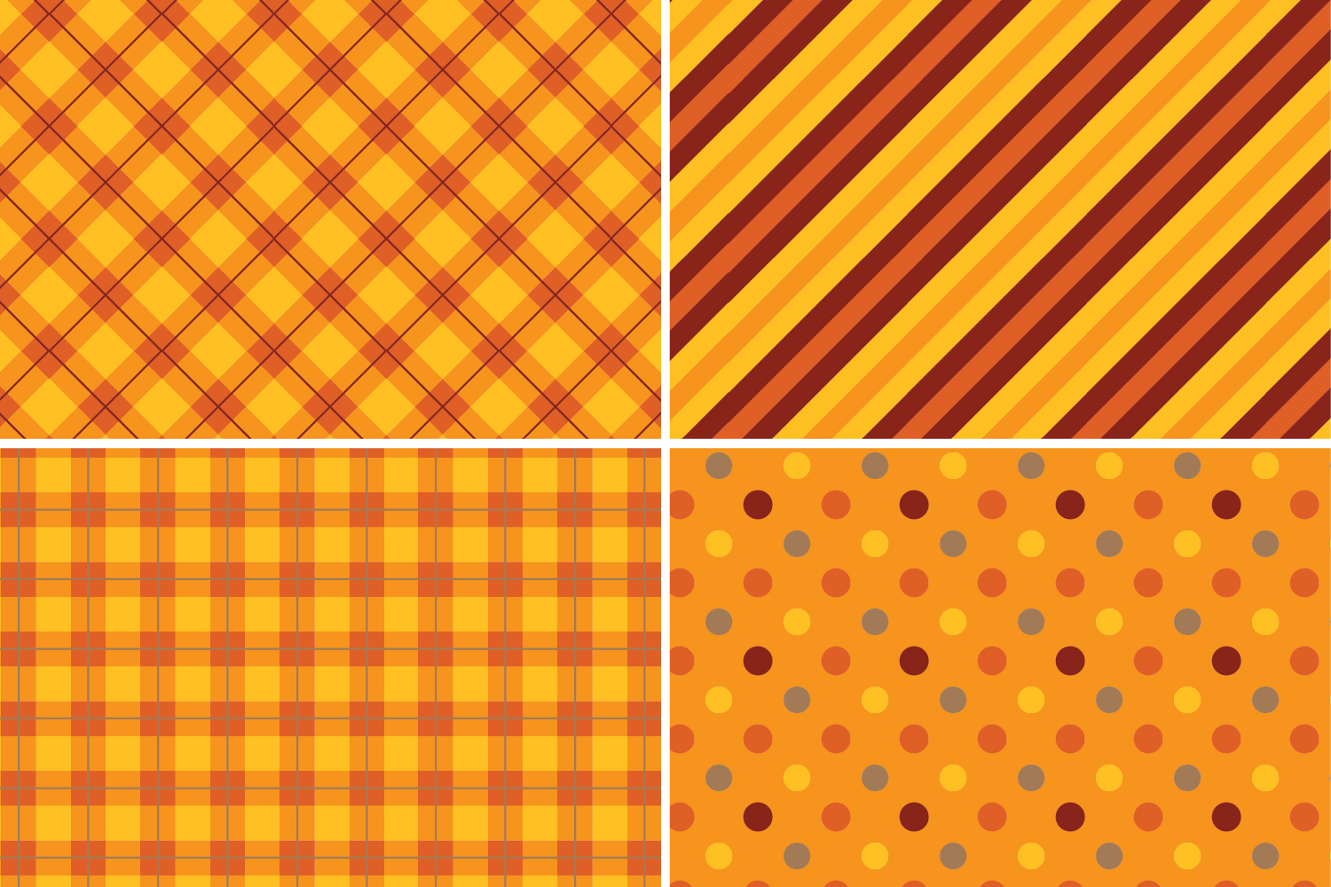 8 Seamless Autumn Patterns Set 1 example image 2