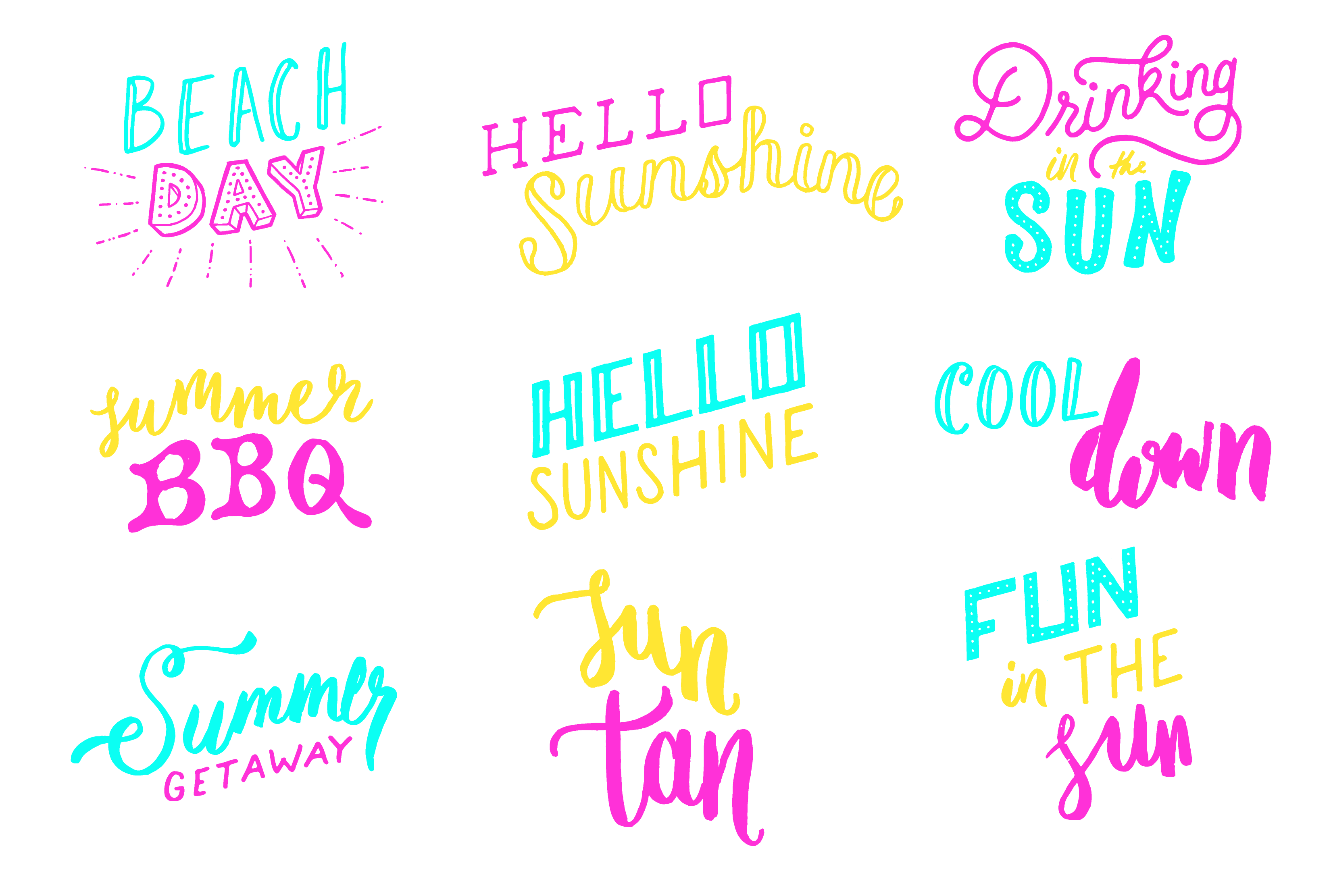 Summer Fun Lettering Pack example image 2