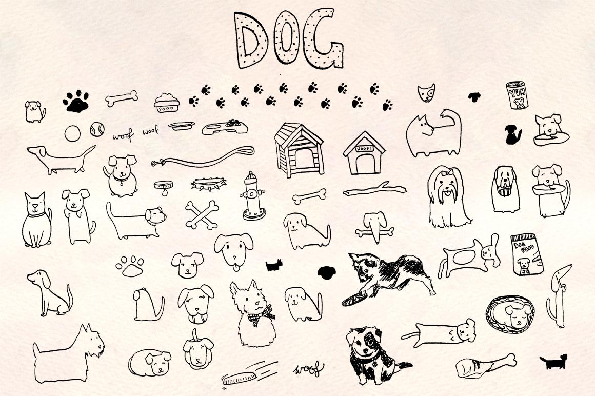 60 Puppy Dog Vector Sketch Graphics Bundle example image 2