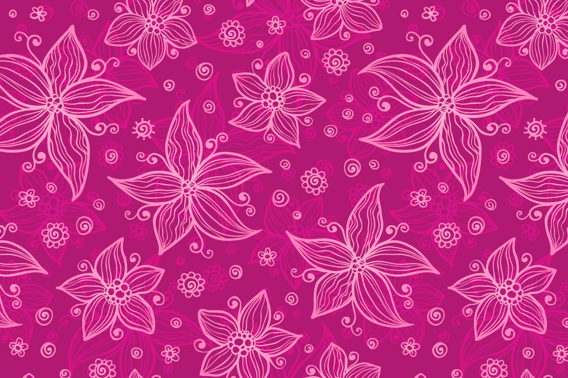 12 vector flowers seamless patterns example image 3