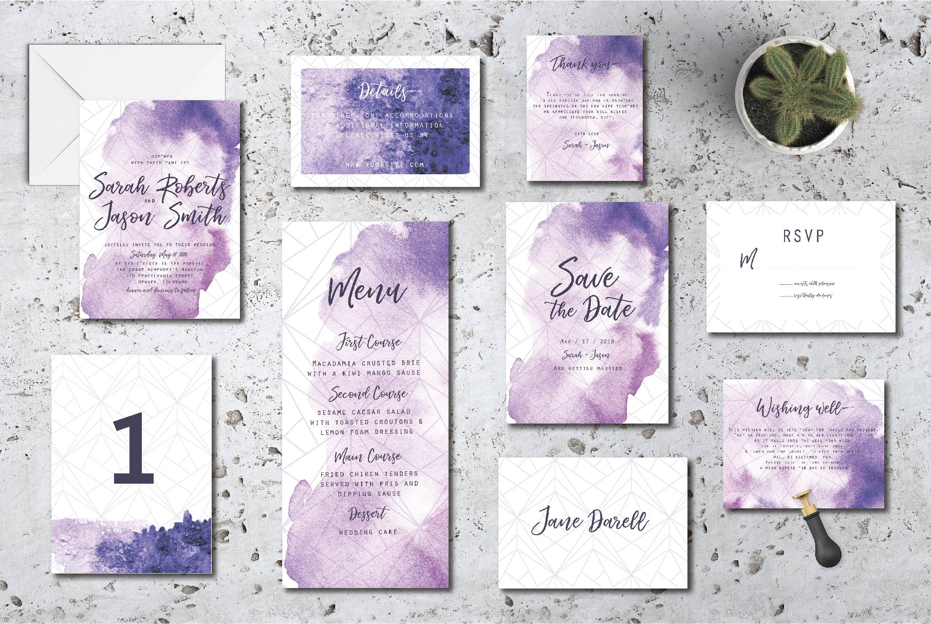 Ultra violet wedding invitation suit example image 2