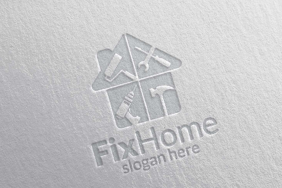 Real estate Logo, Fix Home Vector Logo Design suitable for architecture,  handyman,bricolage,Diy,and for another application company example image 3