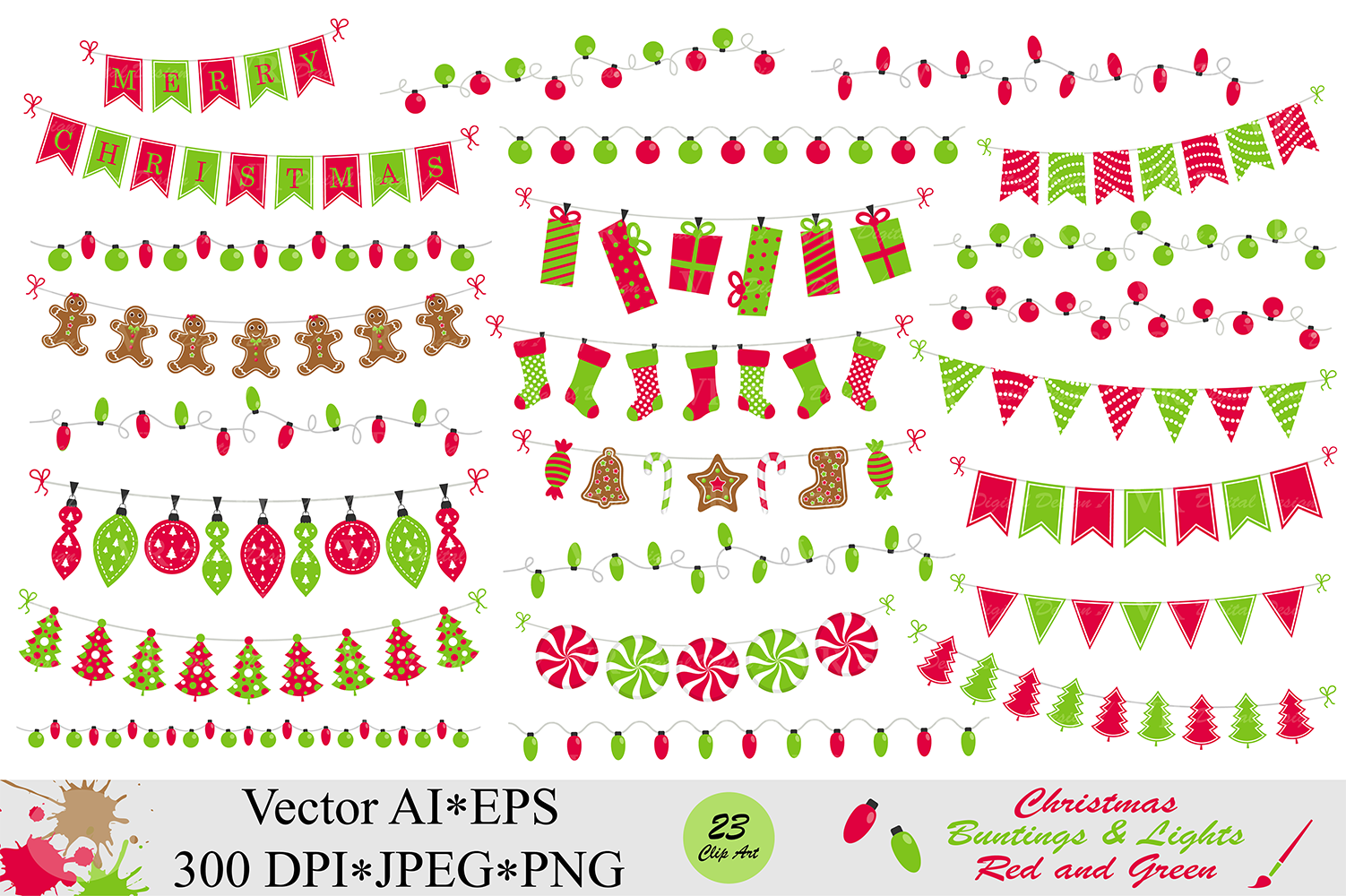 Christmas red and green bunting banners and string lights clipart - vector example image 1