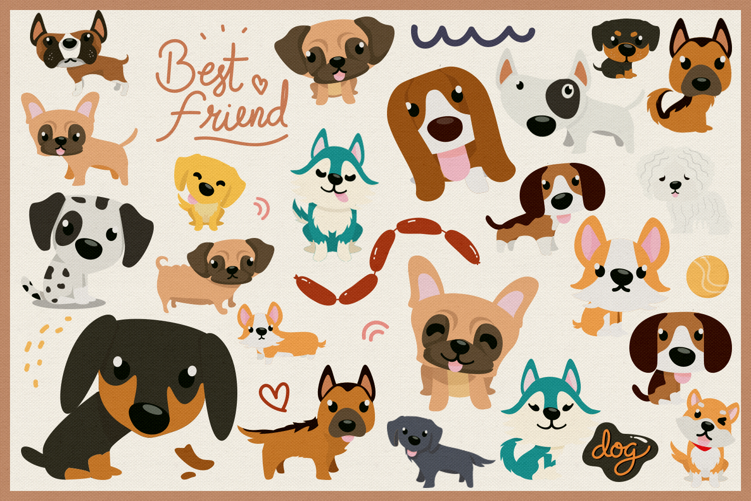 80 Cute Dog Vector Clipart & Seamless Patterns example image 4