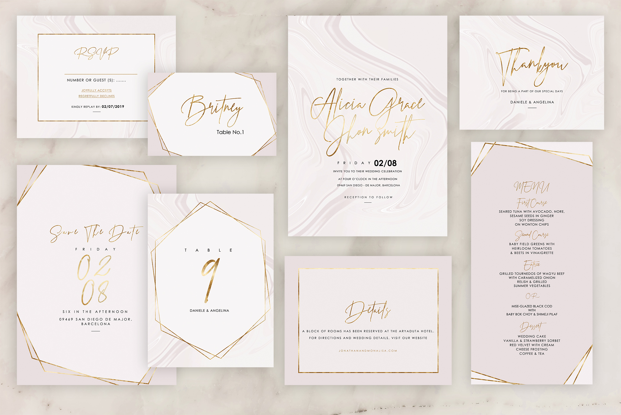 Marble Wedding Invitation - 6 Collections example image 6