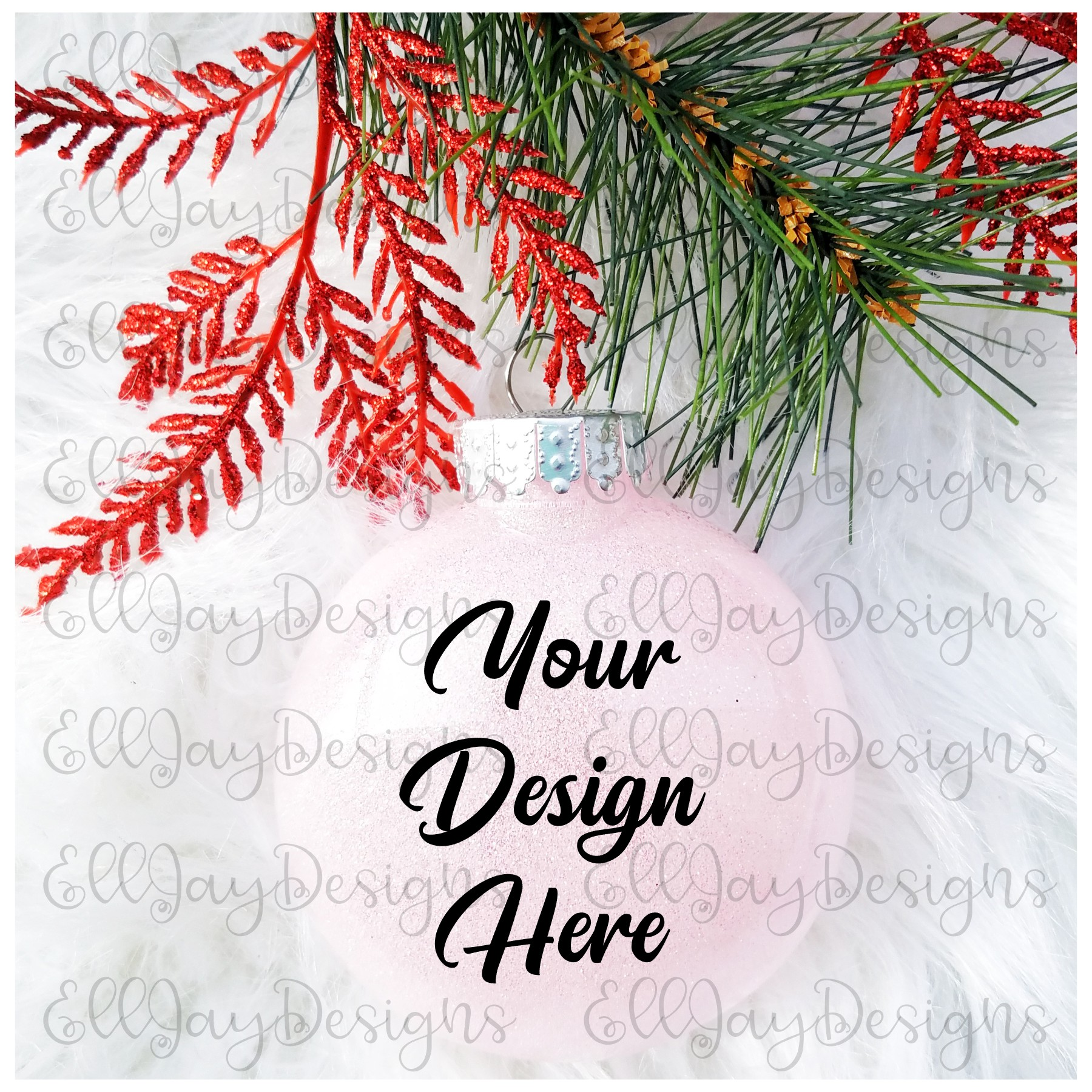 Light Pink Christmas Glitter Ornament Mock up example image 2