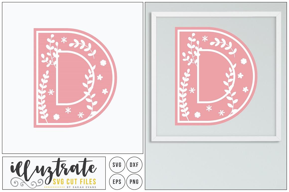 Letter D SVG Alphabet - DXF cut files - Vector Clipart example image 1